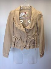 BKE BUCKLE~ Tan Cotton Distressed Long Sleeve Frayed Rough Edge Jacket Coat S