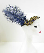 Navy Blue Gold Ostrich Feather 1920s Flapper Headpiece Headband Great Gatsby 915
