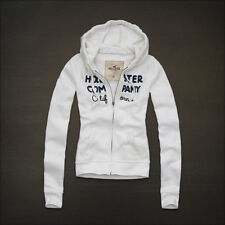 NEW Womens %HOLLISTER ABERCROMBIE% White Vintage Full Zip Hoodie Sweatshirt Sz.L