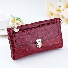 Women's Leather  Wallet Purse click clutch Handbag Mini Cross-Body shoulder bag