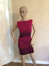 ALEXANDER MCQUEEN black & Pink Stripe Body Con Dress Size XS Uk 6-8 Women's Vgc