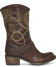 Guess Esperanz Floral Studded Western Brown Leather Mid Calf Boots Size 9