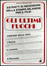 CINEMA-manifesto GLI ULTIMI FUOCHI Kazan, Robert De Niro - RECENSIONI STAMPA