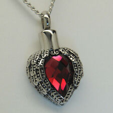 HEART CREMATION URN NECKLACE RED HEART CREMATION JEWELRY MEMORIAL PENDANT URNS