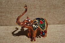 SWAROVSKI CRYSTAL BEJEWELED ENAMELED HINGED TRINKET BOX-  ORNAMENTAL ELEPHANT