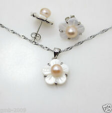 Fashion Natural Pink Akoy Pearl White Shell Flower Earrings Pendant Chain A Set