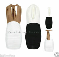 Women Ladies Halter Neck Multiway Slinky Bodycon Ruched Gathered Party Dress