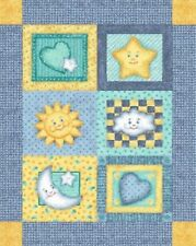 Baby Good Night Moon and Stars Quilt top Wall hanging Panel Fabric Cotton