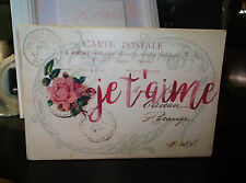 French Postcard Sign Je t'aime I Love You Pink Rose Chic & Shabby Valentine Sign