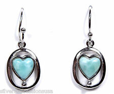 100% Genuine AAA Larimar Inlay 925 Sterling Silver Dangling Heart Earrings