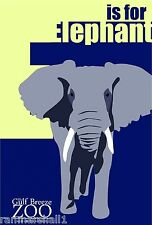 E for Elephant Gulf Breeze Zoo Florida United States Advertisement Art Poster