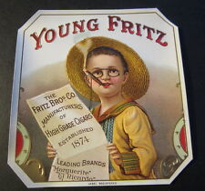 Original Old Antique - YOUNG FRITZ - Outer CIGAR BOX LABEL - Advertising