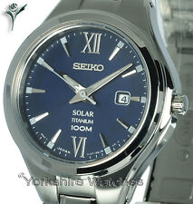 Ladies SEIKO SOLAR TITANIUM BLUE FACE With TITANIUM BRACELET SUT273P1