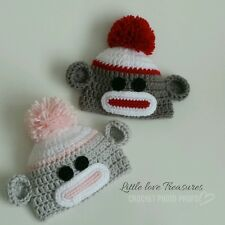 NEW Set of Two Newborn Baby Twins Sock Monkey Hats Crochet Photo Prop Gift