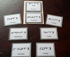 DAYS OF THE WEEK IN BRAILLE CARDS & COMMUNICATION BOARD - RAISED DOTS & VELCRO