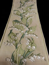Vintage French Green Lily of the Valley 3-Inch Wide Rayon Jacquard Ribbon