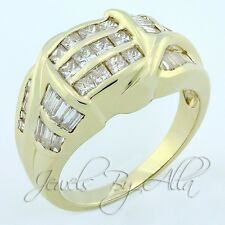 Womens 14k (Solid, Unplated) Yellow Gold Princess Diamond Cluster Cocktail Ring