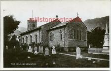 REAL PHOTOGRAPHIC POSTCARD OF THE CHURCH, CONISTON, LANCASHIRE.