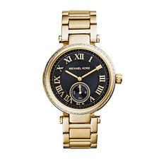 Michael Kors Ladies' Skylar Gold Tone Black Face Bracelet Designer Watch MK5989