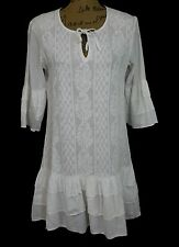 Rajasthan Marbella womens S white embroider cotton tier tie tunic dress