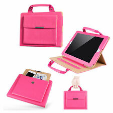 iPad Air 2 Stand Handbag Case with Handle & Storage Compartment, Hot Pink