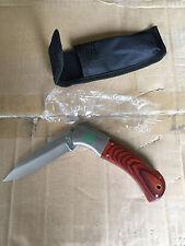 """3.5"""" Knife Rosewood Handle Camping Pocket Knife w/ Nylon Sheath & Locking Blade"""