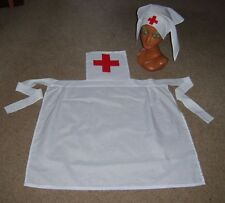 LADIES 1930S 1940S WW1 WW2 RED CROSS NURSE SET APRON & HAT FANCY DRESS COSTUME