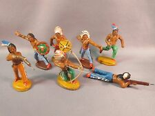 7 vintage composition Indian figures, by German company Hopf
