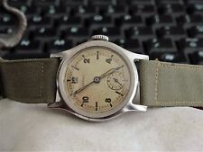 Vintage 1940s WWII Military Buren Rival Brit.Pat Brevet Stainless Steel Watch!