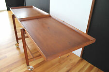 Mid Century Danish Modern Poul Hundevad Solid Teak Trolley Expandable Trays 1955