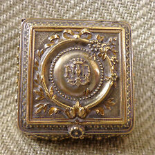 Antique French Snuff Powder Rosary Box Monogrammed Notre Dame de Lourdes