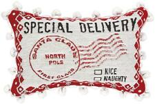 Christmas Special Delivery Mail ~ Santa Claus North Pole Tapestry Word Pillow