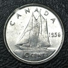 1956 DOT - CANADA 10 CENTS - SILVER - Elizabeth II - Clipped Planchlet - SCARCE