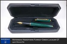 WATERMAN HEMISPHERE GREEN & GOLD   FOUNTAIN PEN  MEDIUM POINT  IN BOX  @