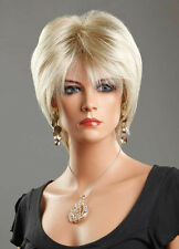 Ladies Platinum Blonde Short Wig in Wedge Style.  Fashion Wig with FREE WIG CAP