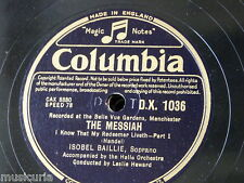 """78rpm 12"""" ISOBEL BAILLIE i know that my redeemer liveth , messiah [ 1&2] DX1036"""