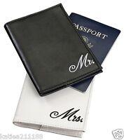 New wedding Mr & Mrs black and white passport covers gift set honeymoon present