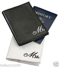 New wedding Mr & Mrs black and white passport covers gift set honeymoon present