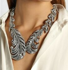 ZARA ELEGANT FEATHER LEAVES SPARKLING RHINESTONES NECKLACE NEW WEDDING