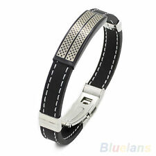 Men's Govial Black Silver Stainless Steel Rubber Cuff Wristband Bangle Bracelet