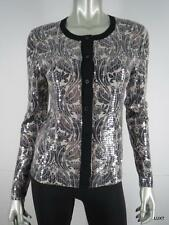 TORY BURCH S Black Brown Ombre Floral Luxury Sequin Snap Cardigan Sweater EUC