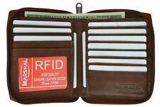 RFID Blocking Security Mens Bifold ID Credit Leather Wallet Zip HIpster 12+ Card