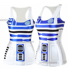 R2D2 tank top, size 10, comics, geek, Sci-fi star, robots droid wars white blue