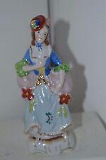 Vintage  Coloinal Porcelain Lady Women Flower  Gold Trim Japan Figurines