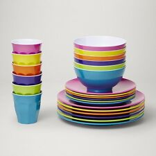 Barel Classic Fiesta Melamine 24 Piece Dinner Set With Tumblers, Plates, & Bowls