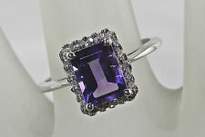 1.54 Carat Total Weight Genuine Amethyst and Diamond Ring – Sterling Silver