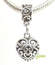 Filigree Scroll Heart Dangle Large Hole Slider Bead fit European Charm Bracelet