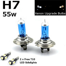 H7 55w SUPER WHITE XENON (499) HID UPGRADE Headlight Bulbs 12v +T10 5SMD W5W LED