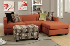 Blended Linen Canyon Sectional Couch 2pc Sofa Set Reversible Chaise Pillows New