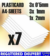 ABS Plasticard A4 - Variety 7 sheets pack - Styrene Plastic Sheets - Plastikard